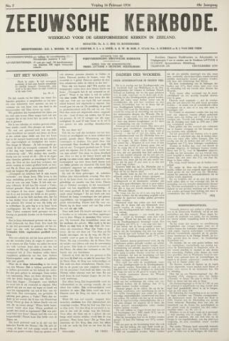 Zeeuwsche kerkbode, weekblad gewijd aan de belangen der gereformeerde kerken/ Zeeuwsch kerkblad 1934-02-16