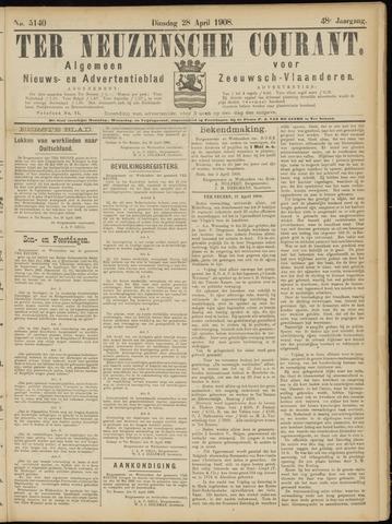 Ter Neuzensche Courant. Algemeen Nieuws- en Advertentieblad voor Zeeuwsch-Vlaanderen / Neuzensche Courant ... (idem) / (Algemeen) nieuws en advertentieblad voor Zeeuwsch-Vlaanderen 1908-04-28