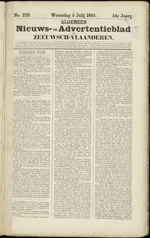 Ter Neuzensche Courant. Algemeen Nieuws- en Advertentieblad voor Zeeuwsch-Vlaanderen / Neuzensche Courant ... (idem) / (Algemeen) nieuws en advertentieblad voor Zeeuwsch-Vlaanderen 1865-07-05