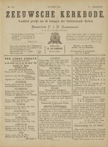 Zeeuwsche kerkbode, weekblad gewijd aan de belangen der gereformeerde kerken/ Zeeuwsch kerkblad 1889-04-13