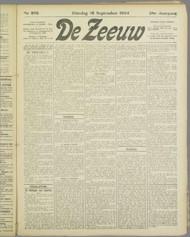 De Zeeuw. Christelijk-historisch nieuwsblad voor Zeeland 1924-09-16