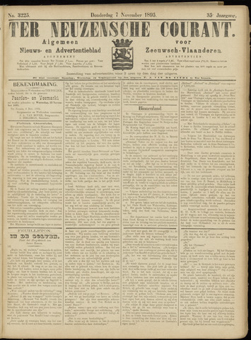 Ter Neuzensche Courant. Algemeen Nieuws- en Advertentieblad voor Zeeuwsch-Vlaanderen / Neuzensche Courant ... (idem) / (Algemeen) nieuws en advertentieblad voor Zeeuwsch-Vlaanderen 1895-11-07