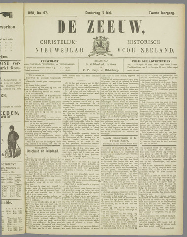 De Zeeuw. Christelijk-historisch nieuwsblad voor Zeeland 1888-05-17