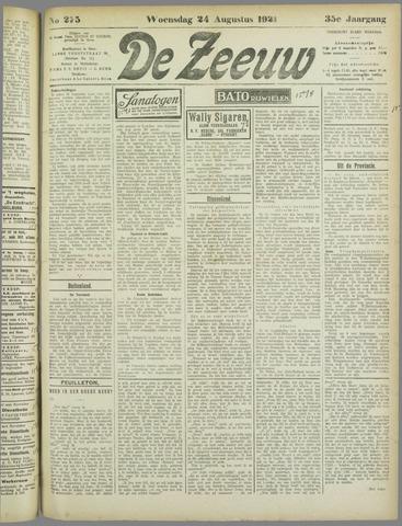 De Zeeuw. Christelijk-historisch nieuwsblad voor Zeeland 1921-08-24