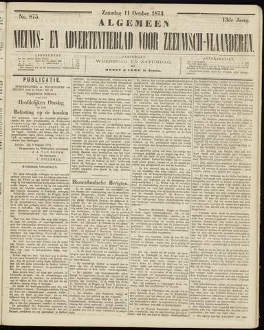 Ter Neuzensche Courant. Algemeen Nieuws- en Advertentieblad voor Zeeuwsch-Vlaanderen / Neuzensche Courant ... (idem) / (Algemeen) nieuws en advertentieblad voor Zeeuwsch-Vlaanderen 1873-10-11