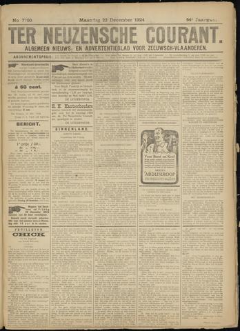 Ter Neuzensche Courant. Algemeen Nieuws- en Advertentieblad voor Zeeuwsch-Vlaanderen / Neuzensche Courant ... (idem) / (Algemeen) nieuws en advertentieblad voor Zeeuwsch-Vlaanderen 1924-12-22