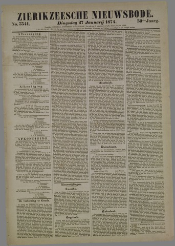 Zierikzeesche Nieuwsbode 1874-01-27