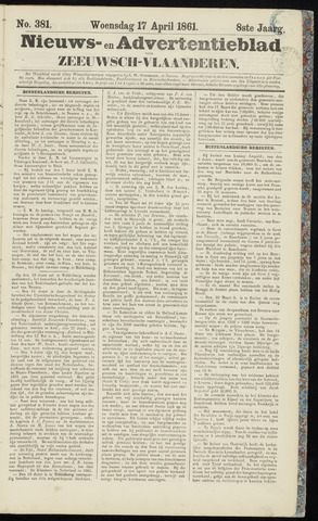 Ter Neuzensche Courant. Algemeen Nieuws- en Advertentieblad voor Zeeuwsch-Vlaanderen / Neuzensche Courant ... (idem) / (Algemeen) nieuws en advertentieblad voor Zeeuwsch-Vlaanderen 1861-04-17