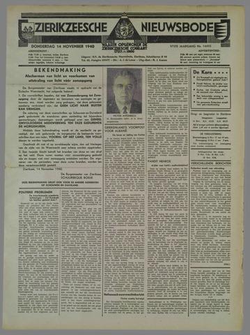 Zierikzeesche Nieuwsbode 1940-11-14