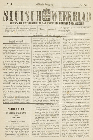 Sluisch Weekblad. Nieuws- en advertentieblad voor Westelijk Zeeuwsch-Vlaanderen 1874-01-13