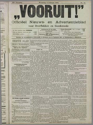 """""""Vooruit!""""Officieel Nieuws- en Advertentieblad voor Overflakkee en Goedereede 1916-02-02"""
