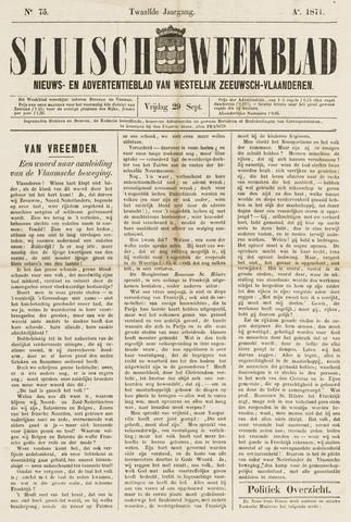 Sluisch Weekblad. Nieuws- en advertentieblad voor Westelijk Zeeuwsch-Vlaanderen 1871-09-29