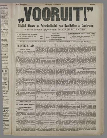 """""""Vooruit!""""Officieel Nieuws- en Advertentieblad voor Overflakkee en Goedereede 1917-02-03"""