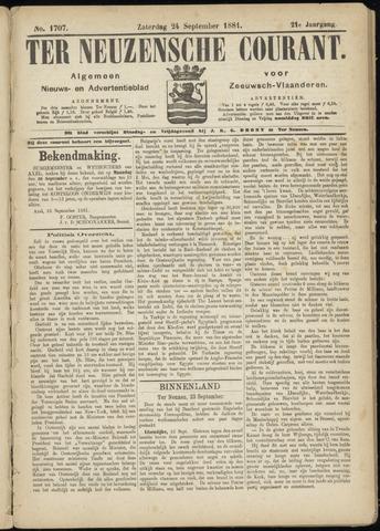 Ter Neuzensche Courant. Algemeen Nieuws- en Advertentieblad voor Zeeuwsch-Vlaanderen / Neuzensche Courant ... (idem) / (Algemeen) nieuws en advertentieblad voor Zeeuwsch-Vlaanderen 1881-09-24
