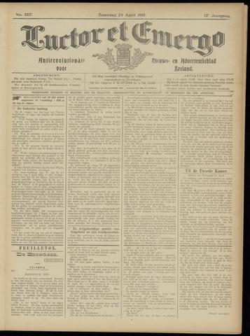 Luctor et Emergo. Antirevolutionair nieuws- en advertentieblad voor Zeeland / Zeeuwsch-Vlaanderen. Orgaan ter verspreiding van de christelijke beginselen in Zeeuwsch-Vlaanderen 1915-04-24