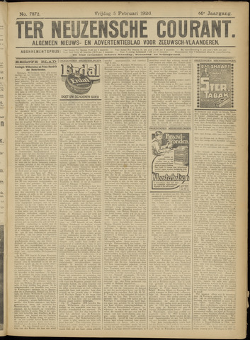 Ter Neuzensche Courant. Algemeen Nieuws- en Advertentieblad voor Zeeuwsch-Vlaanderen / Neuzensche Courant ... (idem) / (Algemeen) nieuws en advertentieblad voor Zeeuwsch-Vlaanderen 1926-02-05