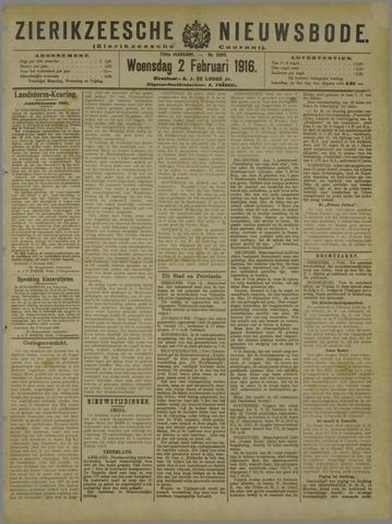 Zierikzeesche Nieuwsbode 1916-02-02