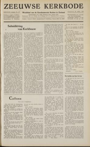 Zeeuwsche kerkbode, weekblad gewijd aan de belangen der gereformeerde kerken/ Zeeuwsch kerkblad 1958-04-18