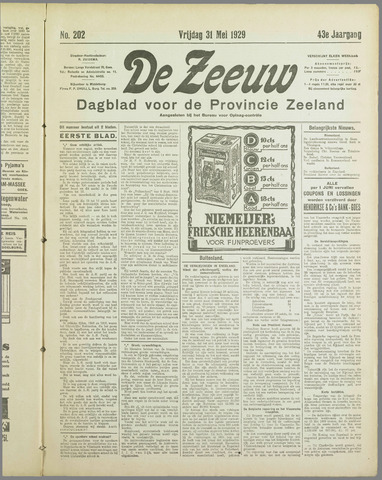 De Zeeuw. Christelijk-historisch nieuwsblad voor Zeeland 1929-05-31