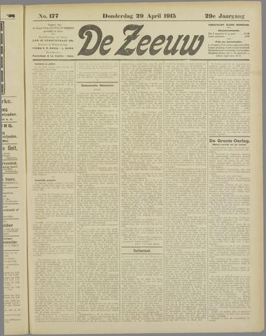 De Zeeuw. Christelijk-historisch nieuwsblad voor Zeeland 1915-04-29