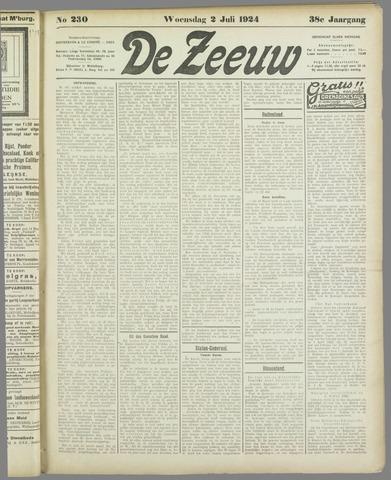 De Zeeuw. Christelijk-historisch nieuwsblad voor Zeeland 1924-07-02