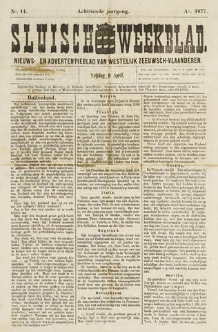 Sluisch Weekblad. Nieuws- en advertentieblad voor Westelijk Zeeuwsch-Vlaanderen 1877-04-06