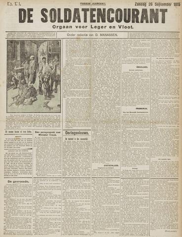 De Soldatencourant. Orgaan voor Leger en Vloot 1915-09-26
