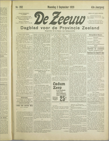 De Zeeuw. Christelijk-historisch nieuwsblad voor Zeeland 1929-09-02