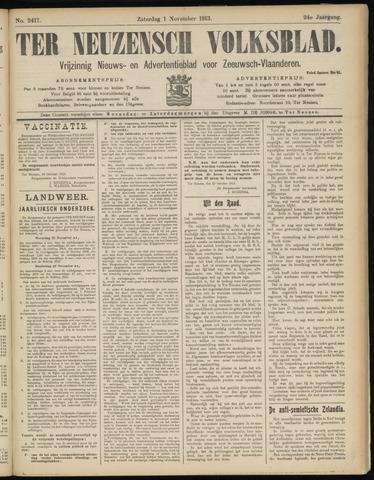 Ter Neuzensch Volksblad. Vrijzinnig nieuws- en advertentieblad voor Zeeuwsch- Vlaanderen / Zeeuwsch Nieuwsblad. Nieuws- en advertentieblad voor Zeeland 1913-11-01