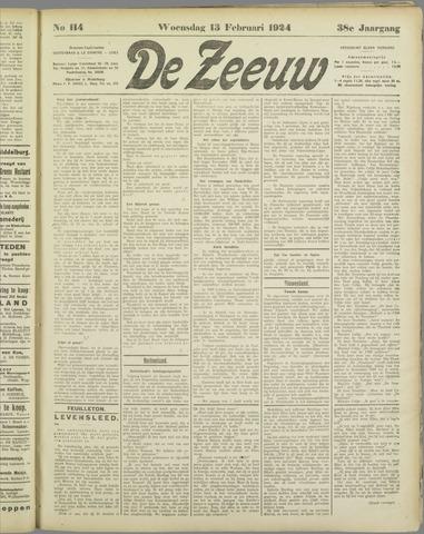 De Zeeuw. Christelijk-historisch nieuwsblad voor Zeeland 1924-02-13