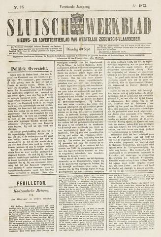 Sluisch Weekblad. Nieuws- en advertentieblad voor Westelijk Zeeuwsch-Vlaanderen 1873-09-30