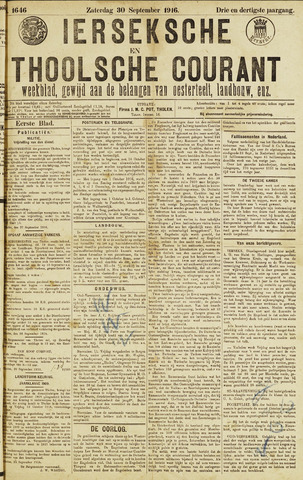Ierseksche en Thoolsche Courant 1916-09-30