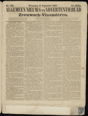 Ter Neuzensche Courant. Algemeen Nieuws- en Advertentieblad voor Zeeuwsch-Vlaanderen / Neuzensche Courant ... (idem) / (Algemeen) nieuws en advertentieblad voor Zeeuwsch-Vlaanderen 1866-09-12