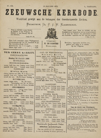 Zeeuwsche kerkbode, weekblad gewijd aan de belangen der gereformeerde kerken/ Zeeuwsch kerkblad 1892-01-23