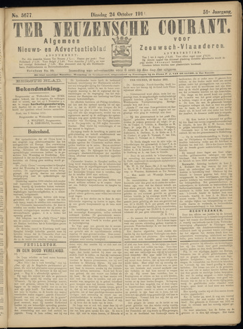 Ter Neuzensche Courant. Algemeen Nieuws- en Advertentieblad voor Zeeuwsch-Vlaanderen / Neuzensche Courant ... (idem) / (Algemeen) nieuws en advertentieblad voor Zeeuwsch-Vlaanderen 1911-10-24