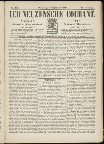Ter Neuzensche Courant. Algemeen Nieuws- en Advertentieblad voor Zeeuwsch-Vlaanderen / Neuzensche Courant ... (idem) / (Algemeen) nieuws en advertentieblad voor Zeeuwsch-Vlaanderen 1881-09-14