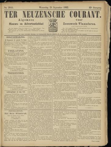 Ter Neuzensche Courant. Algemeen Nieuws- en Advertentieblad voor Zeeuwsch-Vlaanderen / Neuzensche Courant ... (idem) / (Algemeen) nieuws en advertentieblad voor Zeeuwsch-Vlaanderen 1892-09-21