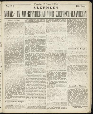 Ter Neuzensche Courant. Algemeen Nieuws- en Advertentieblad voor Zeeuwsch-Vlaanderen / Neuzensche Courant ... (idem) / (Algemeen) nieuws en advertentieblad voor Zeeuwsch-Vlaanderen 1875-02-17