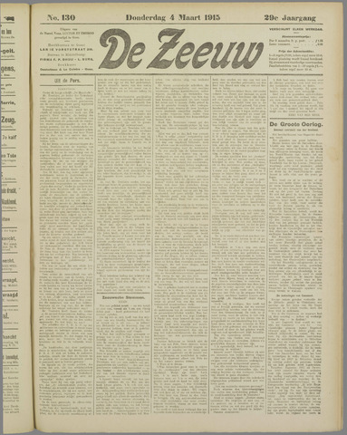 De Zeeuw. Christelijk-historisch nieuwsblad voor Zeeland 1915-03-04