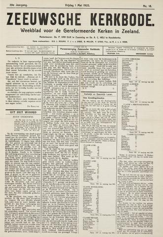 Zeeuwsche kerkbode, weekblad gewijd aan de belangen der gereformeerde kerken/ Zeeuwsch kerkblad 1925-05-01