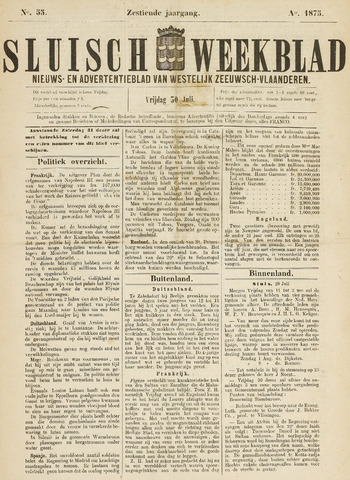 Sluisch Weekblad. Nieuws- en advertentieblad voor Westelijk Zeeuwsch-Vlaanderen 1875-07-30