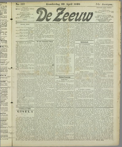De Zeeuw. Christelijk-historisch nieuwsblad voor Zeeland 1920-04-29
