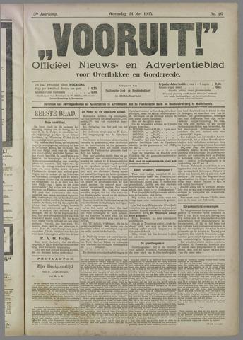 """""""Vooruit!""""Officieel Nieuws- en Advertentieblad voor Overflakkee en Goedereede 1905-05-24"""