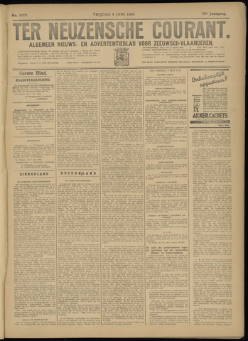 Ter Neuzensche Courant. Algemeen Nieuws- en Advertentieblad voor Zeeuwsch-Vlaanderen / Neuzensche Courant ... (idem) / (Algemeen) nieuws en advertentieblad voor Zeeuwsch-Vlaanderen 1933-06-09