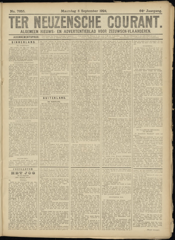 Ter Neuzensche Courant. Algemeen Nieuws- en Advertentieblad voor Zeeuwsch-Vlaanderen / Neuzensche Courant ... (idem) / (Algemeen) nieuws en advertentieblad voor Zeeuwsch-Vlaanderen 1924-09-08
