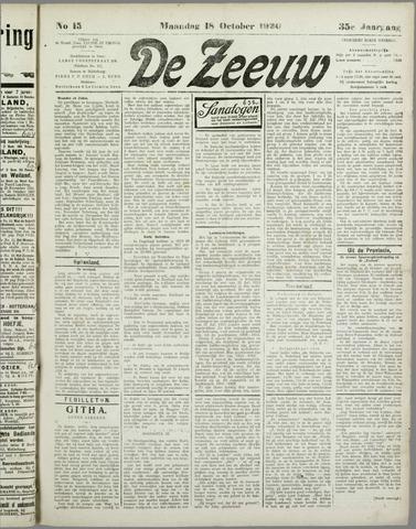 De Zeeuw. Christelijk-historisch nieuwsblad voor Zeeland 1920-10-18