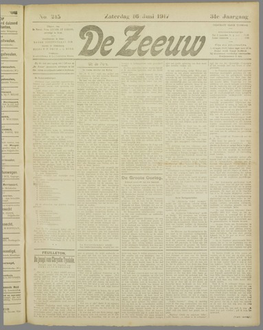 De Zeeuw. Christelijk-historisch nieuwsblad voor Zeeland 1917-06-16