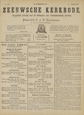 Zeeuwsche kerkbode, weekblad gewijd aan de belangen der gereformeerde kerken/ Zeeuwsch kerkblad 1889-11-23