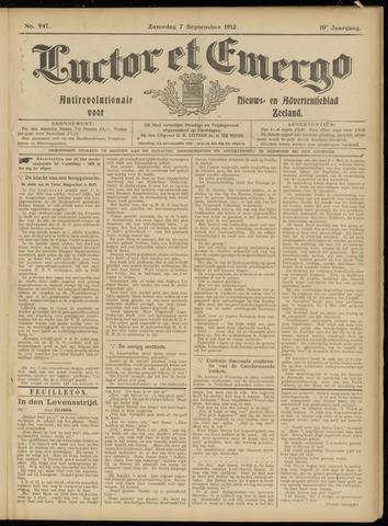 Luctor et Emergo. Antirevolutionair nieuws- en advertentieblad voor Zeeland / Zeeuwsch-Vlaanderen. Orgaan ter verspreiding van de christelijke beginselen in Zeeuwsch-Vlaanderen 1912-09-07