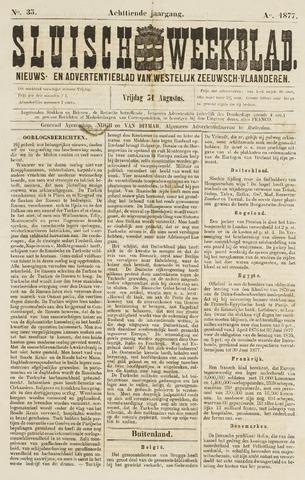 Sluisch Weekblad. Nieuws- en advertentieblad voor Westelijk Zeeuwsch-Vlaanderen 1877-08-31